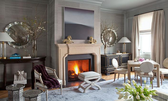 long shot of living room fp convex mirrors