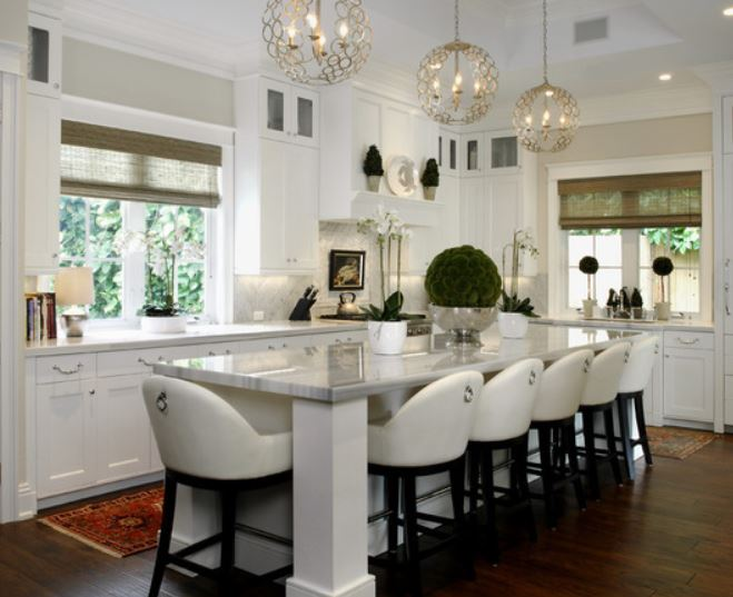 Mini Crystal Chandeliers Over Kitchen Island